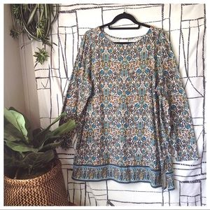 J. Jill Floral Tapestry Long Sleeve Tunic Top